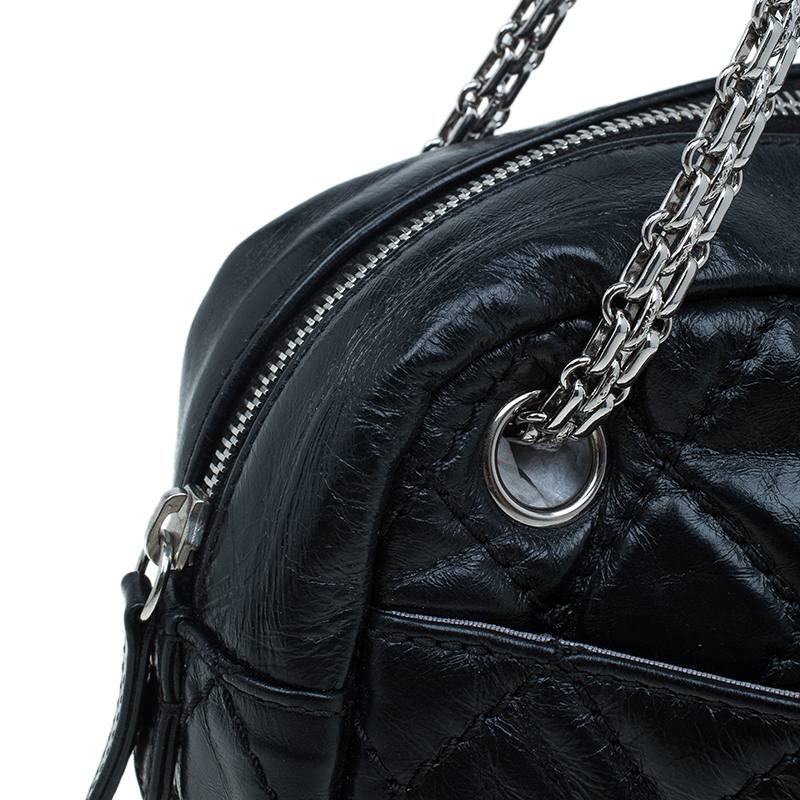 Chanel Black Quilted Crackled Leather Medium Reissue Camera Bag
