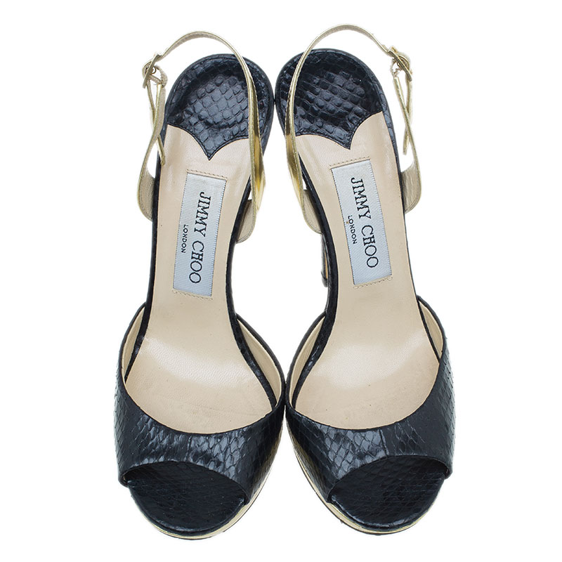 Jimmy Choo Black Elaphe Slingback Sandals Size 36.5