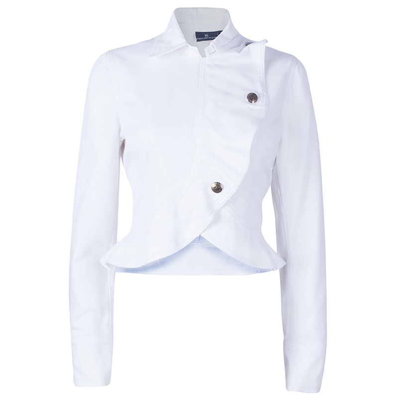 Philipp Plein White Peplum Denim Jacket M