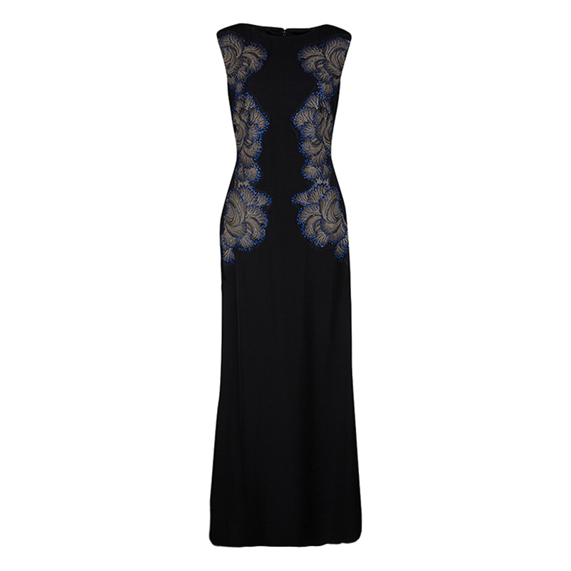 Tadashi Shoji Black Lace Applique Side Panel Detail Embellished ...