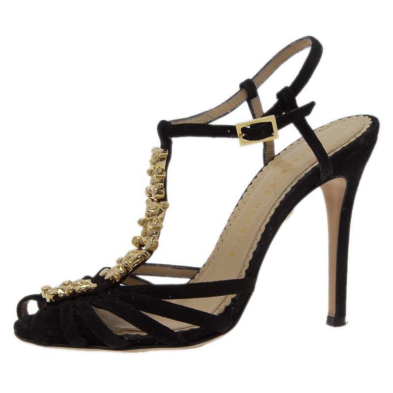 Charlotte Olympia Black Suede Gummi Bear Ankle Strap Sandals Size 36