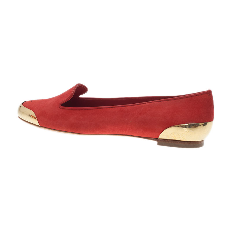 Alexander McQueen Red Suede Metal Cap Toe Smoking Slippers Size 39.5