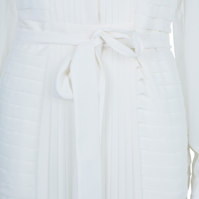 Alice by Temperley White Long Rose Pleated Dress M