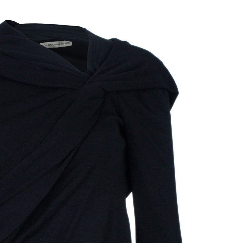Balenciaga Black Shoulder Draped Dress S