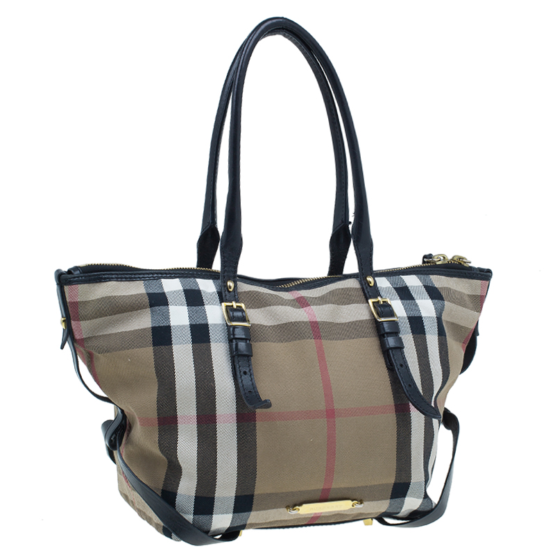 Burberry Black Canvas House Small Check Tote