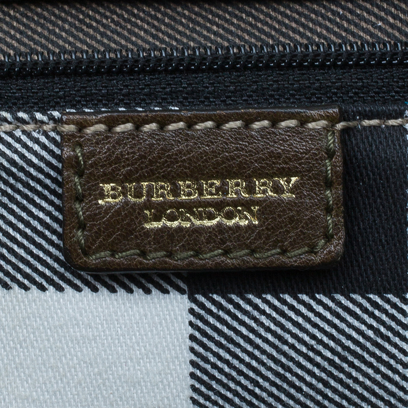 Burberry Olive Green Leather Buckle Boston Bag