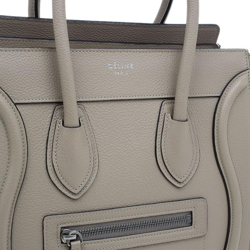 Celine Beige Leather Micro Luggage Tote