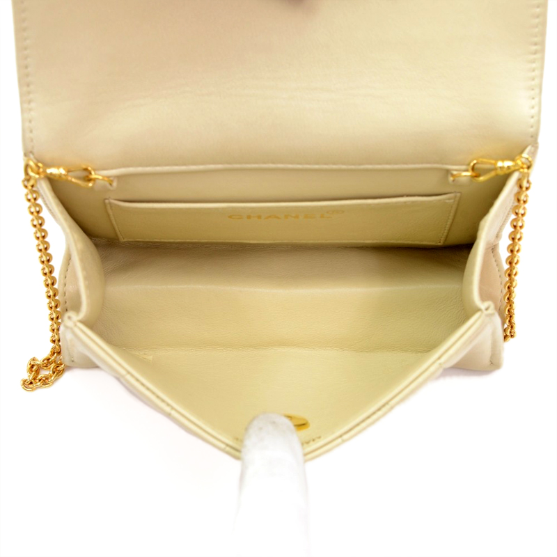 Chanel Beige Vertical Quilted Leather Flap Shoulder Party Bag