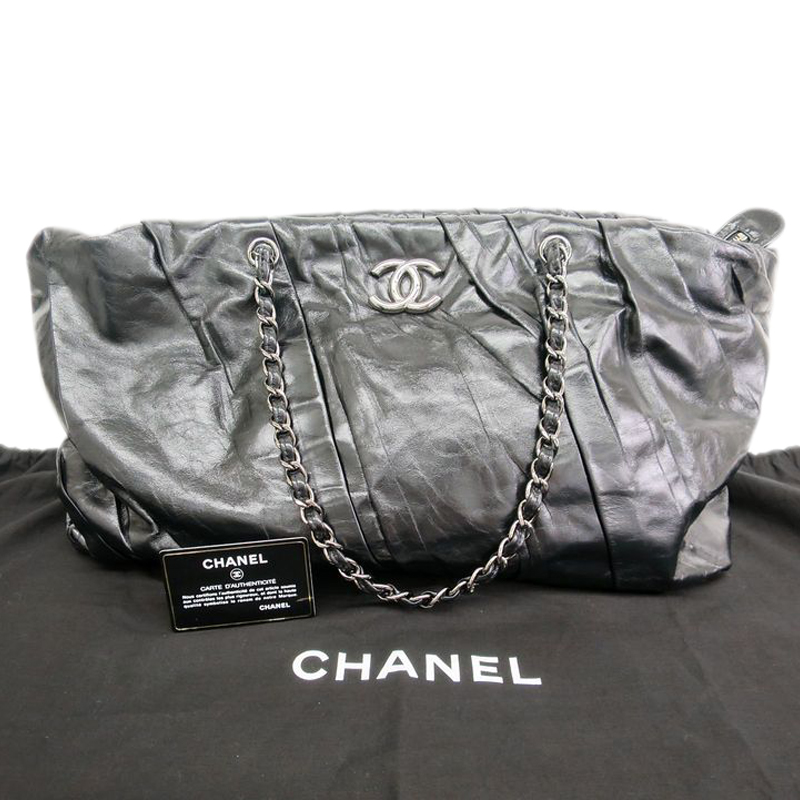Chanel Black Calfskin Pleated Tote