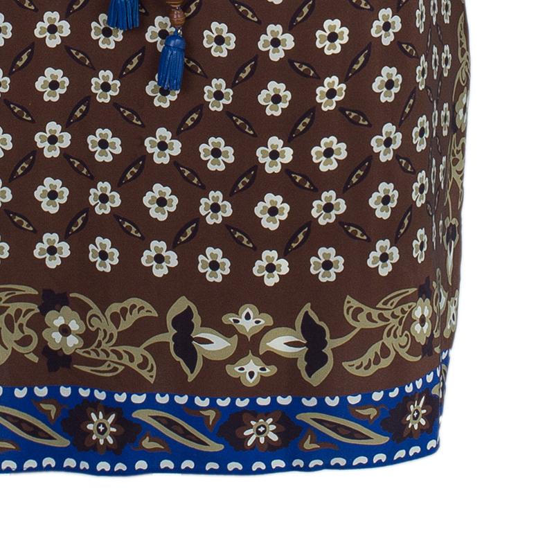 Chloe Multicolor Tile Print Belted Dress M