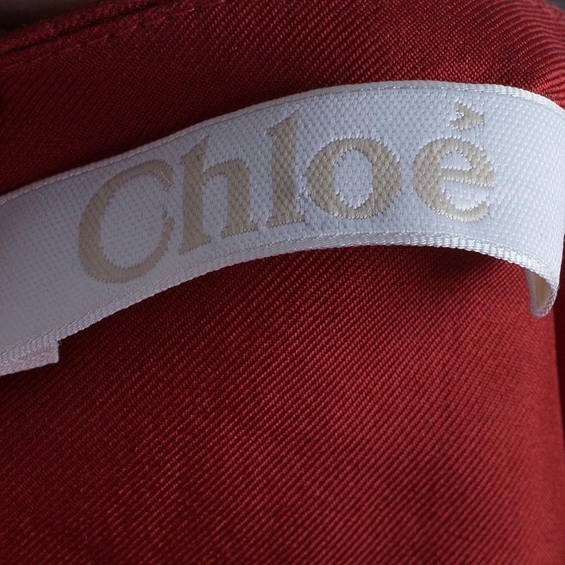 Chloe Asymmetrical Silk Twill Midi Dress M
