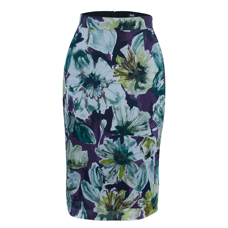 D and G Purple Floral Pencil Skirt M