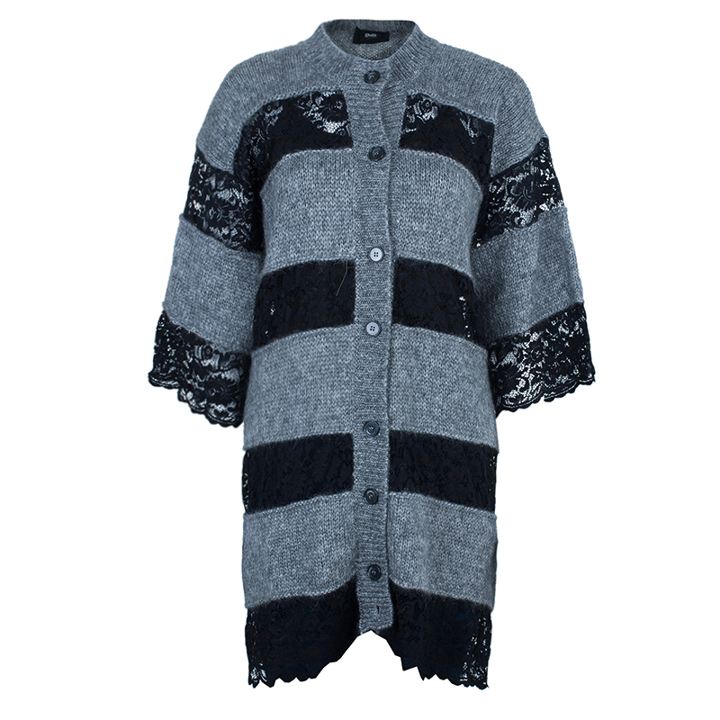 D&G Grey and Black Striped Lace Knit Cardigan M