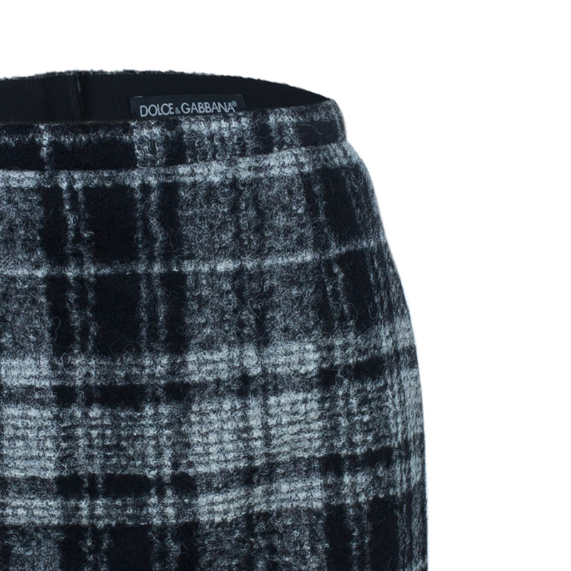 Dolce and Gabbana Grey Wool Plaid Skirt S