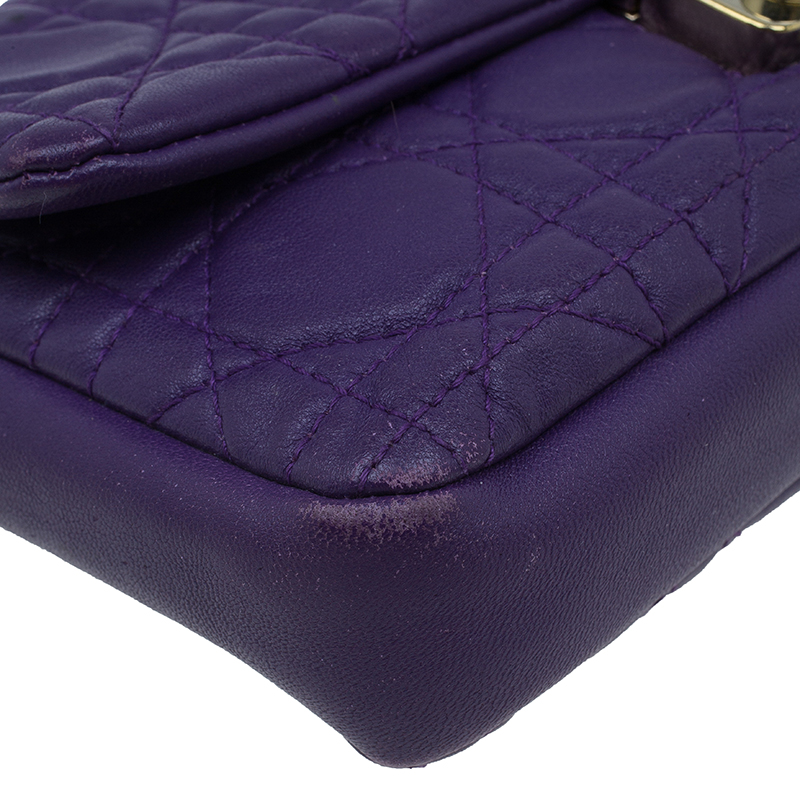 Dior Purple Leather New Lock Chain Clutch Bag