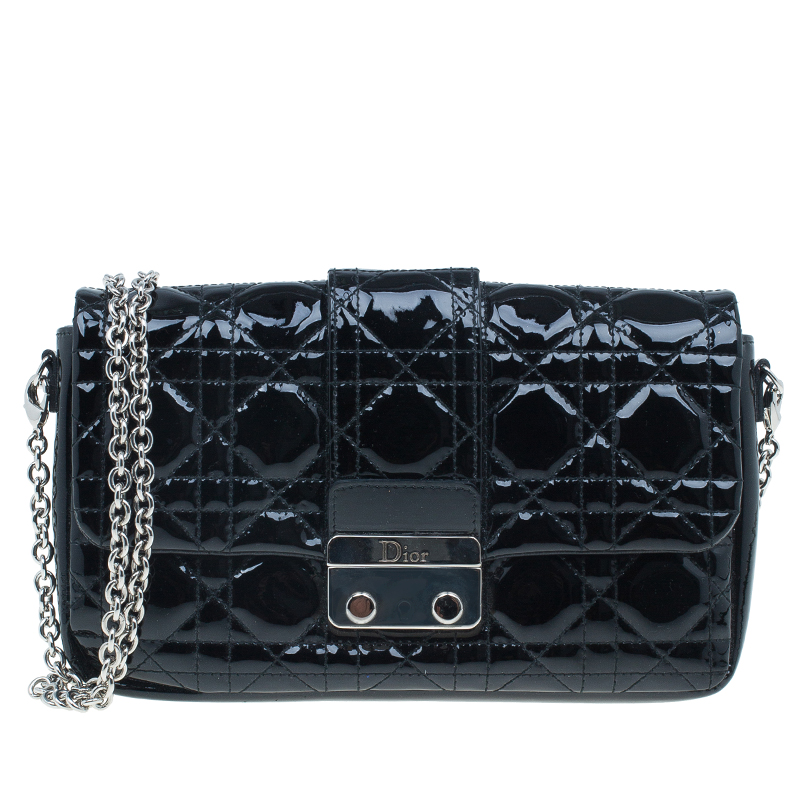 Dior Black Cannage Quilted Patent Leather Chain Clutch Bag Nextprev Prevnext