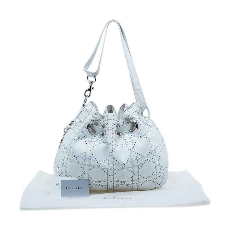 Dior White Cannage Leather Epaule Hobo