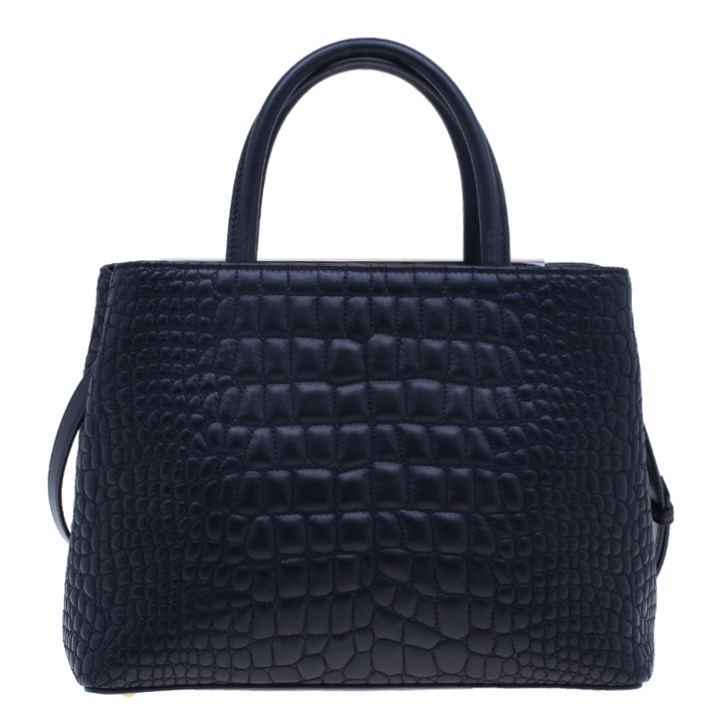 Fendi Croc Embossed Leather 2Jours Mini Tote