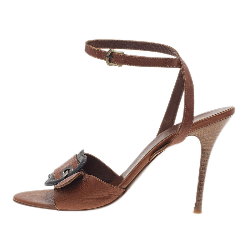 Fendi Brown Leather B Buckle Ankle Strap Sandals Size 38