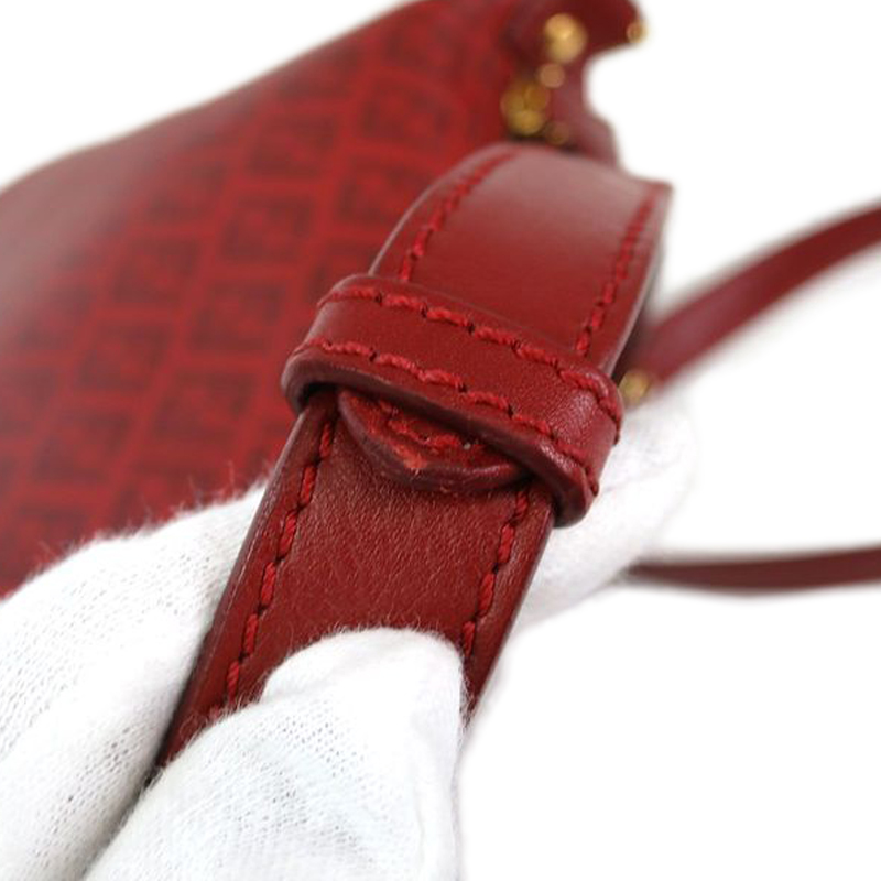 Fendi Red Zucchino Leather Crossbody