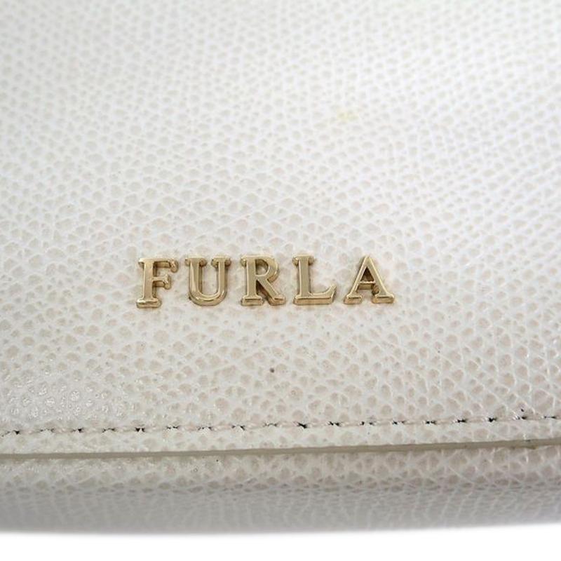 Furla White Leather Zip around Crossbody