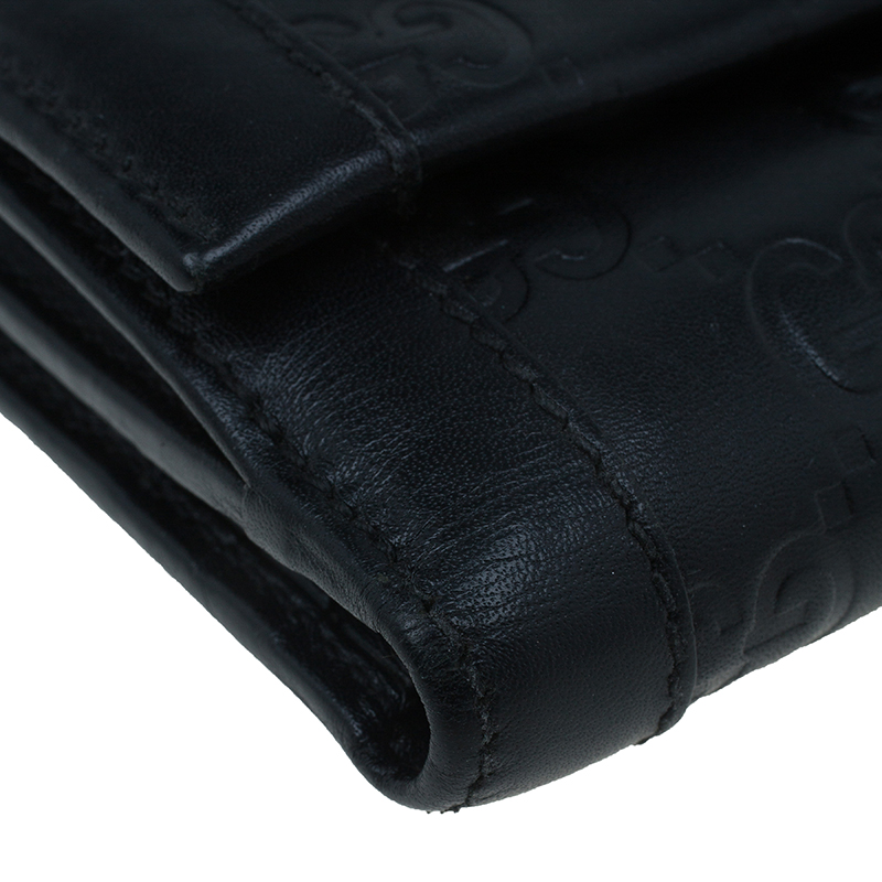 Gucci Black Monogram Leather Compact Wallet