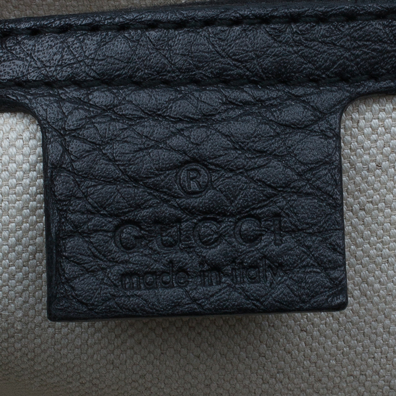 Gucci Black Leather Large Bamboo Top Handle Bag