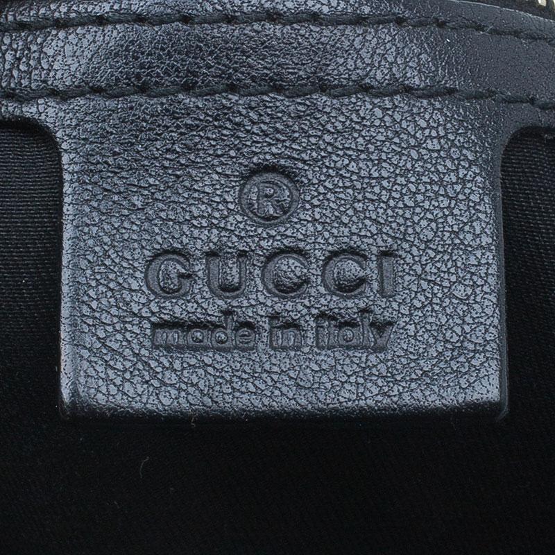 Gucci Black Monogram Canvas Horsebit Pelham Hobo