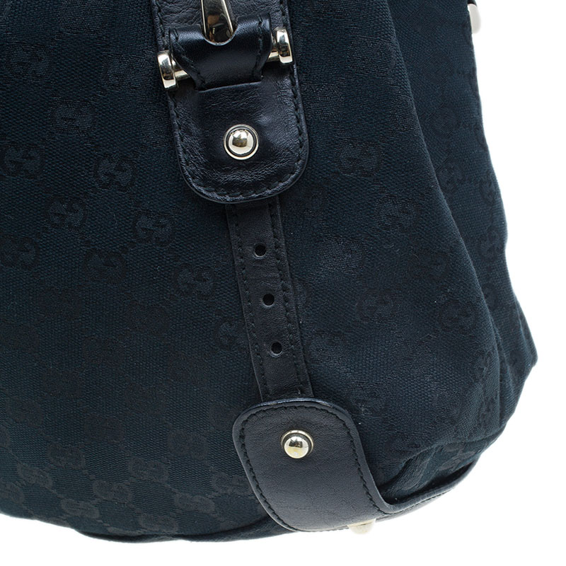 Gucci Black Monogram Canvas Horsebit Pelham Hobo
