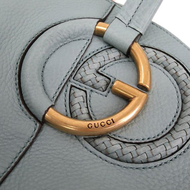 Gucci Light Blue Woven Interlocking G Tote