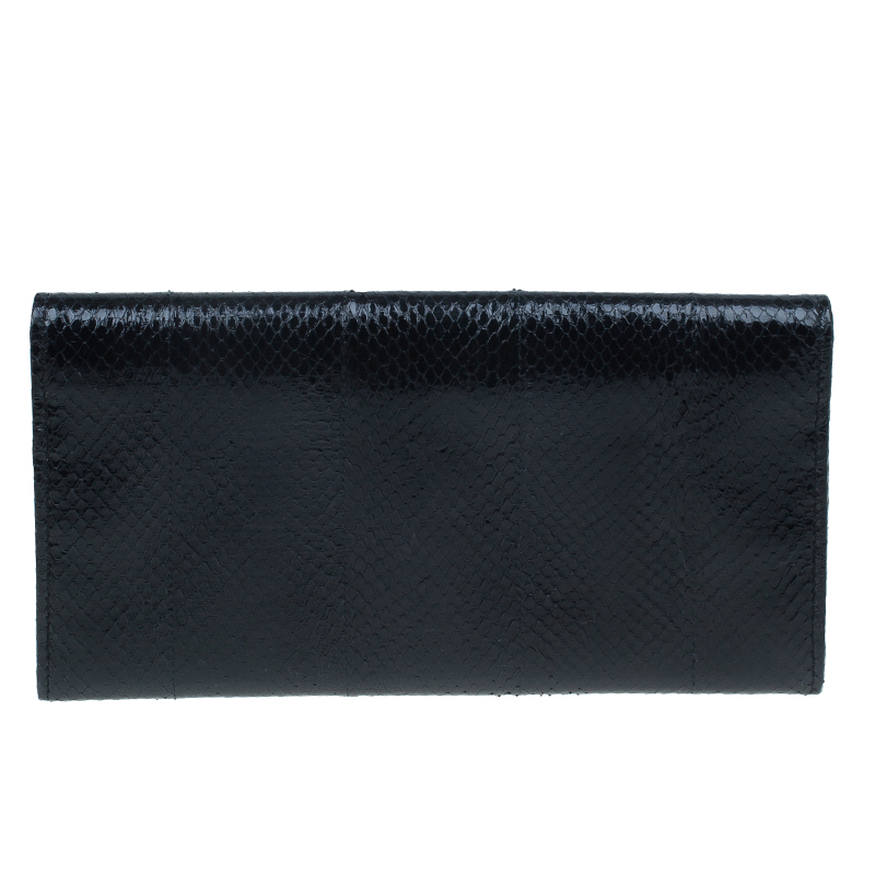 Jimmy Choo Black Snakeskin Reese Clutch