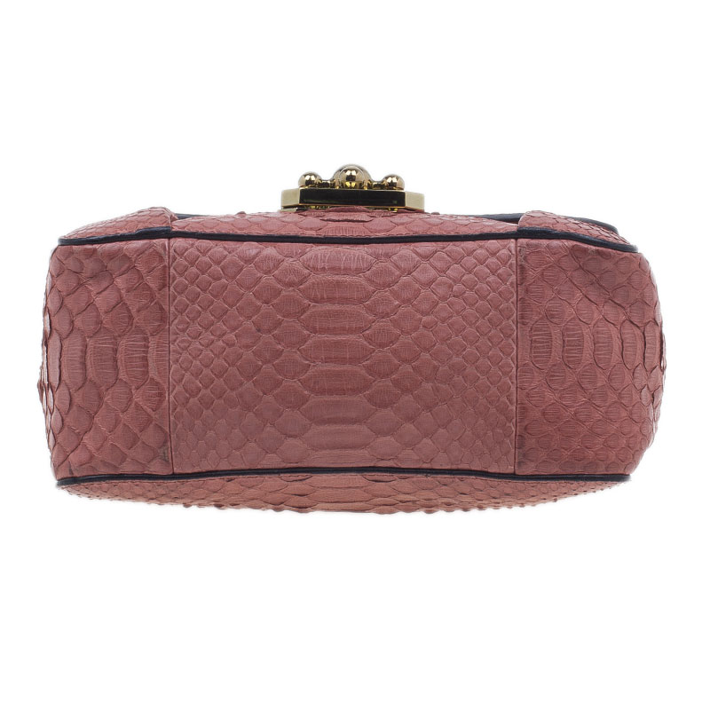 Chloe Pink Python Leather Elsie Square Shoulder Bag