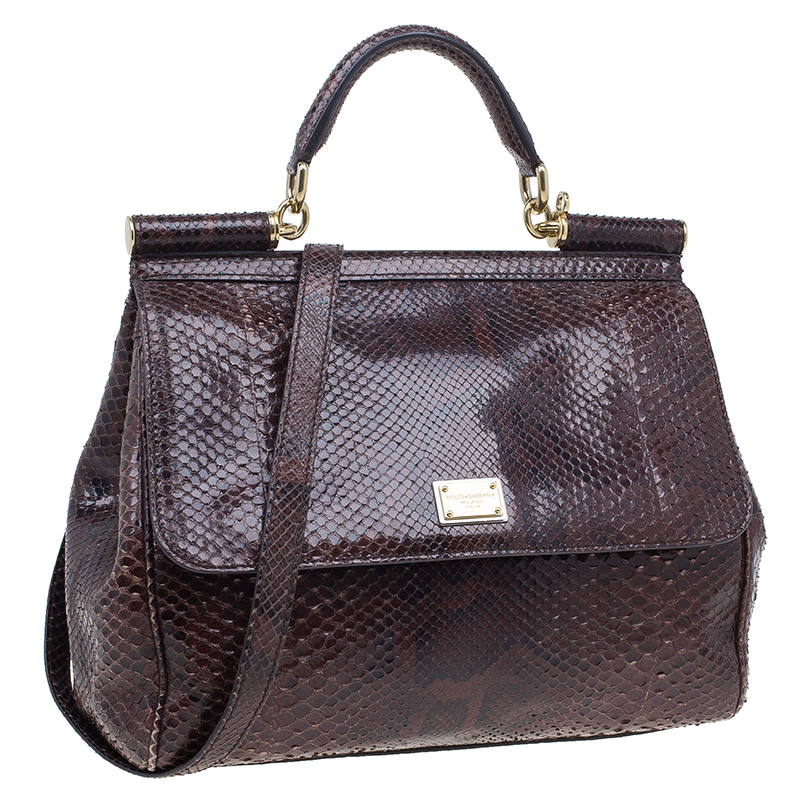 Dolce and Gabbana Brown Python Medium Miss Sicily Tote