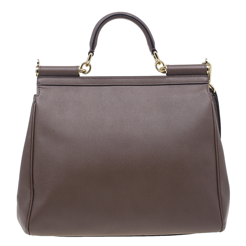 Dolce & Gabbana Brown Leather Miss Sicily Tote