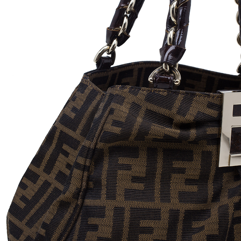 Fendi Zucca Monogram Canvas Small Mia Chain Tote