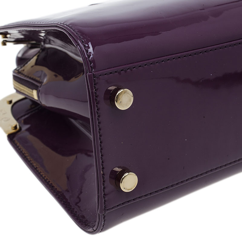Saint Laurent Paris Purple Patent Leather Uptown Small Tote
