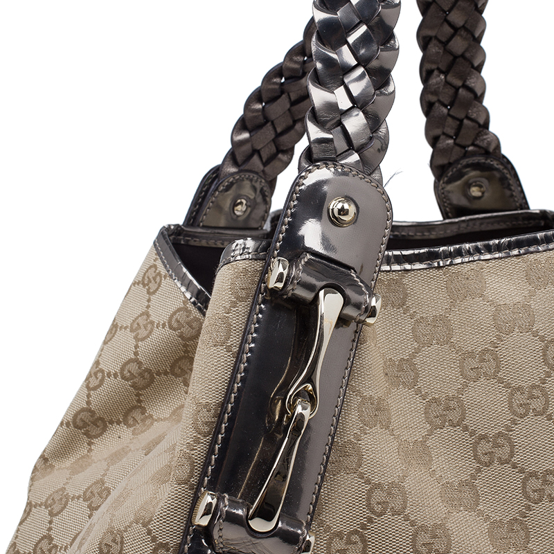 Gucci Beige Metallic Leather Trim Monogram Canvas Pelham Hobo