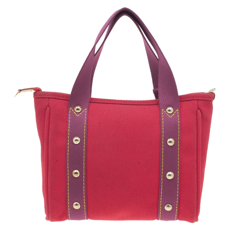 Louis Vuitton Red Antigua Canvas Cabas Tote PM