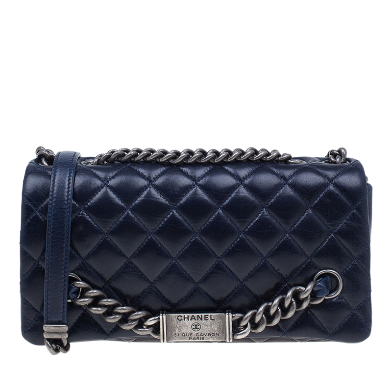Chanel Navy Blue Crackled Leather with Chanel Name Plate Flap Bag