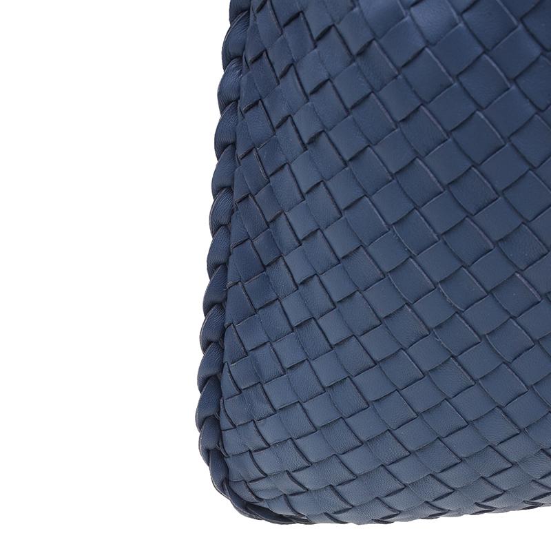 Bottega Veneta Blue Nappa Intrecciato Medium Hobo