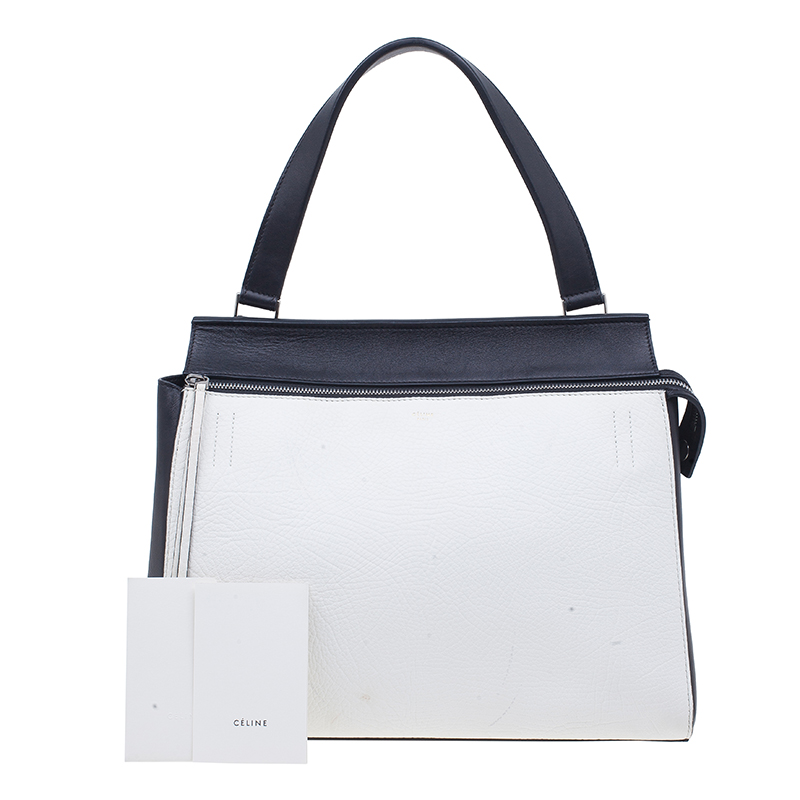 Celine Black & White Calfskin Leather Edge Shoulder Bag
