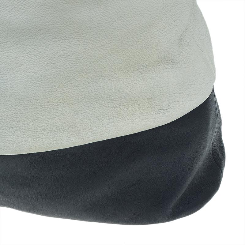 Celine White And Black Leather Oversized Folded Tote