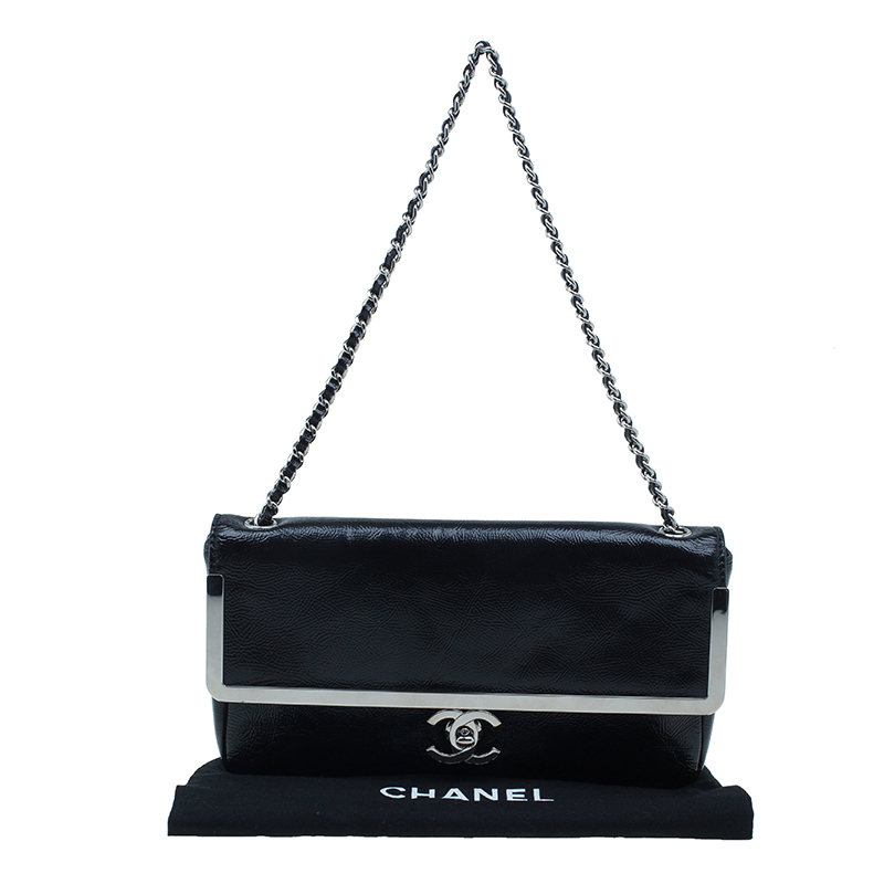 Chanel Black Patent Leather CC logo Single Chain Shoulder Bag