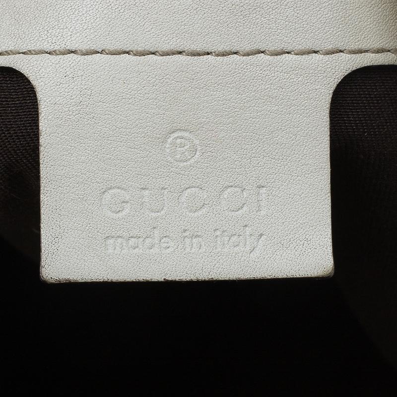 Gucci Beige Monogram Canvas Bamboo Handle Hobo Bag