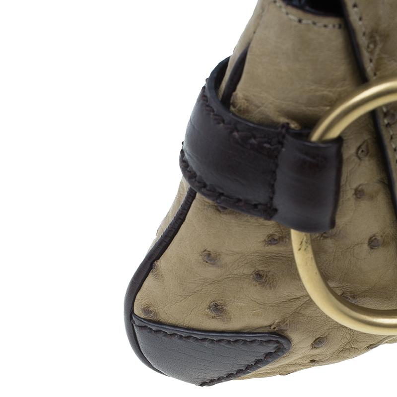 Gucci Beige Ostrich Leather Small Horsebit Clutch
