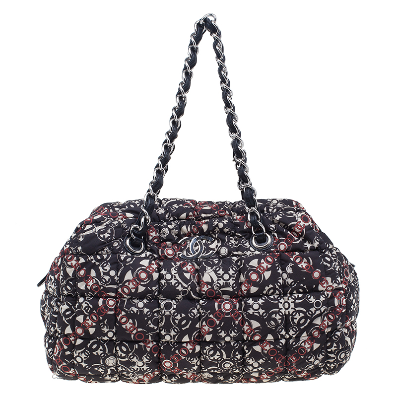 Chanel Black Nylon Printed CC Bubble Cruise Collection Boston Bag