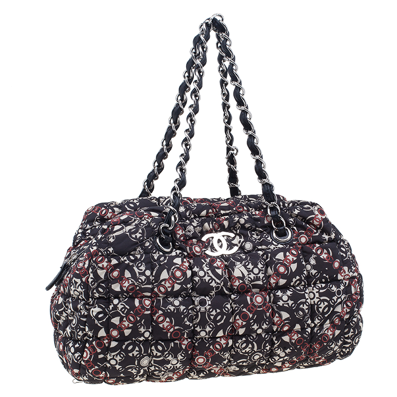Chanel Black Nylon Printed CC Bubble Cruise Collection Boston Bag