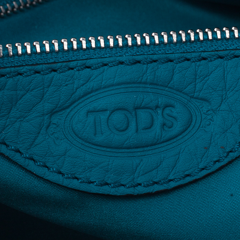 Tod's Blue Leather Dots Shopping Tote