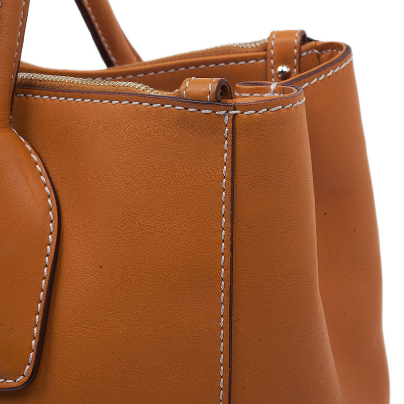 Tod's Orange Leather D-Styling Shopper Tote