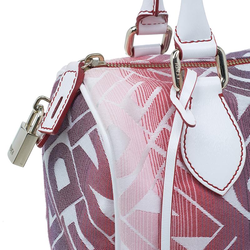 Fendi White and Red Forever Boston Bag